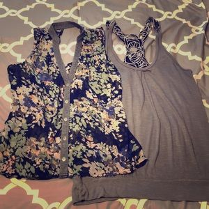 Tank bundle - floral blouse and gray tank